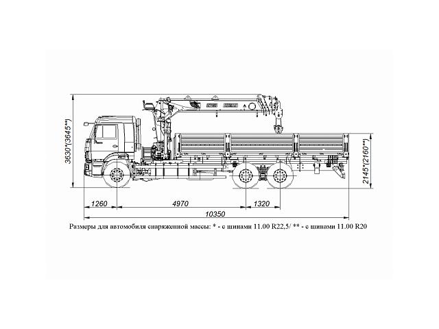 Бортовой автомобиль 6586-322-11 С КМУ PALFINGER INMAN IT 150 на шасси КАМАЗ-65117