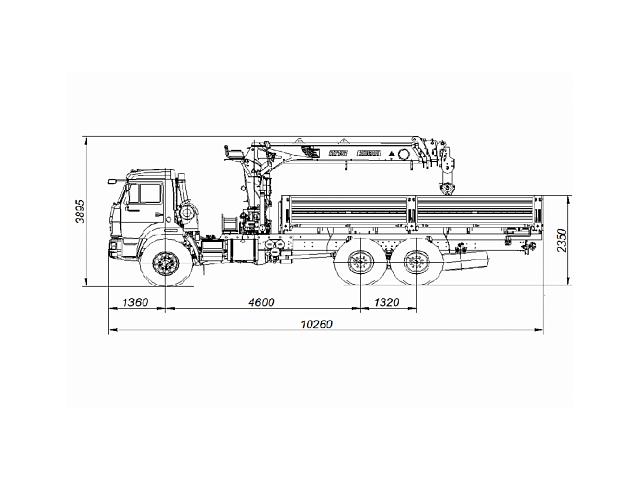 Бортовой автомобиль 65861-322-23 с КМУ PALFINGER INMAN IT 150 на шасси КАМАЗ-43118